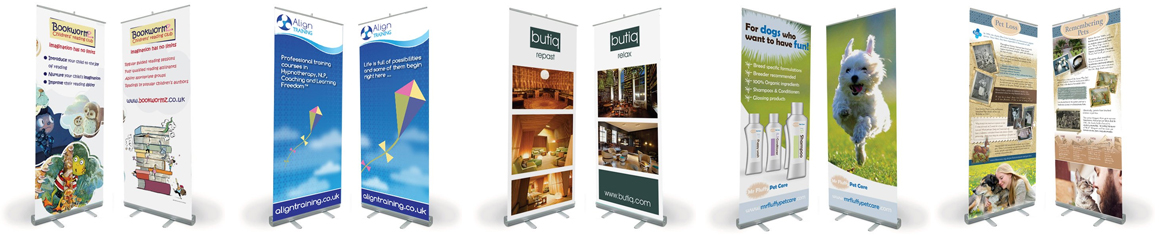 A seclection of pop-up banners