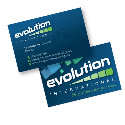 A business card designed by am:pm graphics for a business called Evolution International. Front and back.
