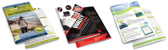 Three examples of catalogues designed by am:pm graphics