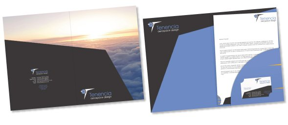 An example of a presentation folder for Tenencia. Designed by am:pm graphics, A4 with a business card slot.