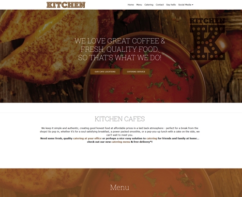 A website design for Kitchen Cafes by am:pm graphics