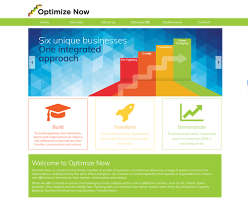 A website design for Optimize Now by am:pm graphics