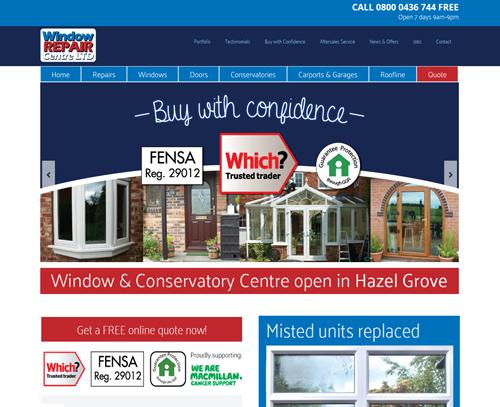 A website design for Window Repair Centre Ltd by am:pm graphics