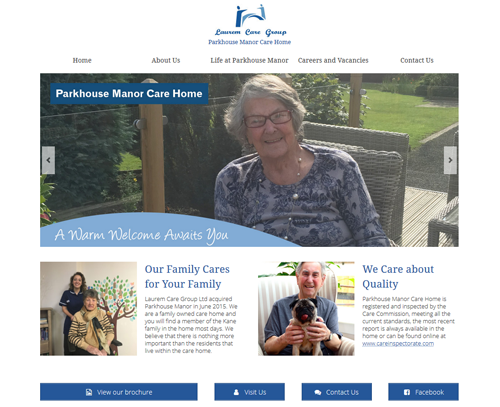 A website design for Parkhouse Manor Care Home by am:pm graphics