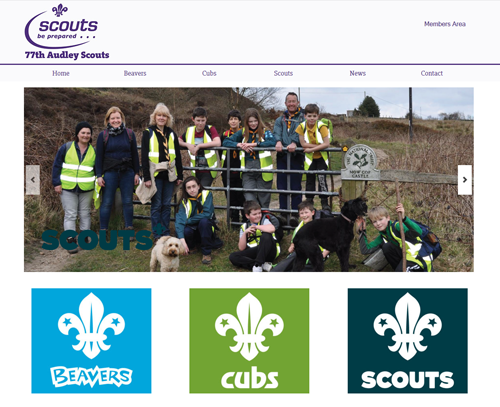 A website design for Audley Scout Group by am:pm graphics
