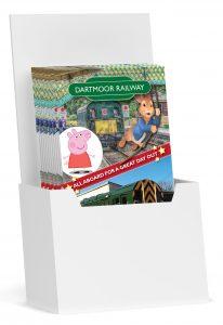 Printed leaflets in a holder