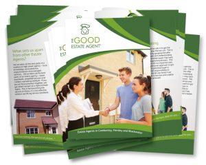 Stack of leaflets for an estate agent