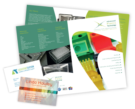Leaflet and two business cards