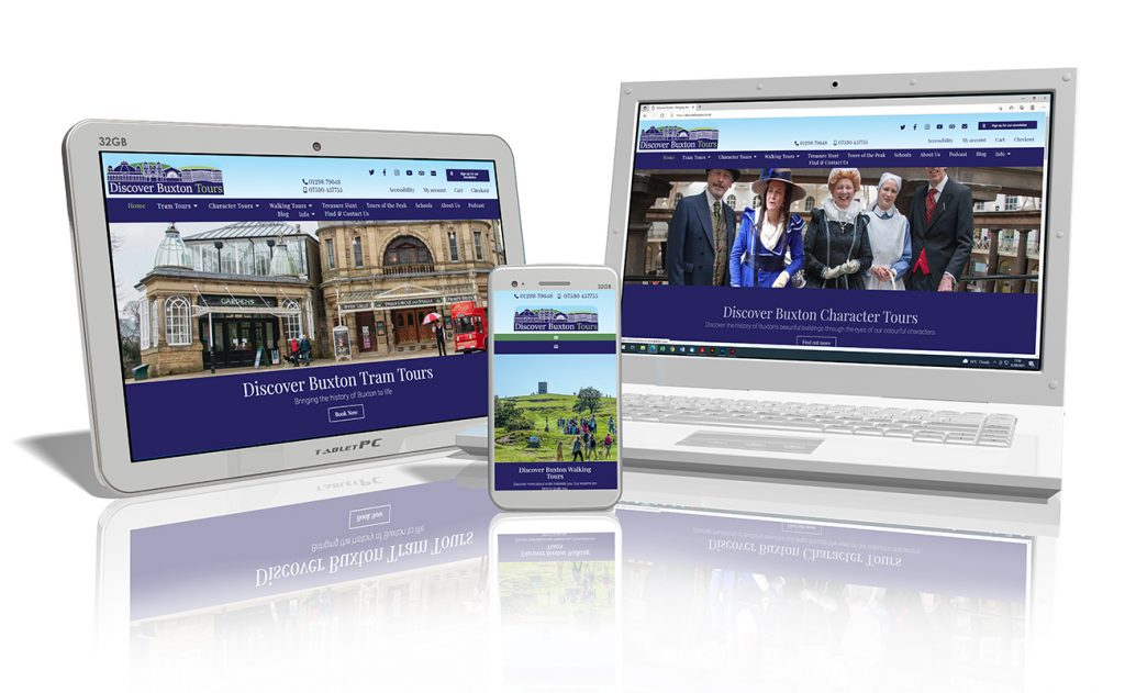 Website design showing on a laptop, tablet and smart phone