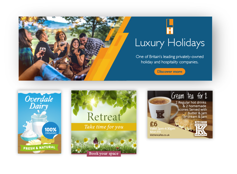 Four web banners