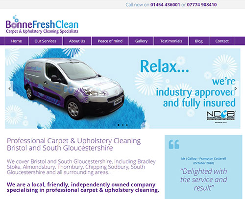 A website design for Bonnefreshclean by ampm graphics