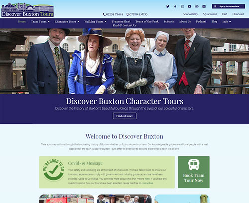 A website design for Discover Buxton by ampmgraphics