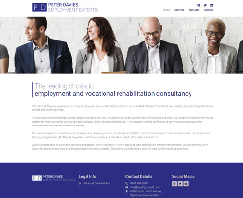 A website design for Employment Experts by ampm graphics