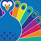 Small icon of a peacock as a symbol of printing services.